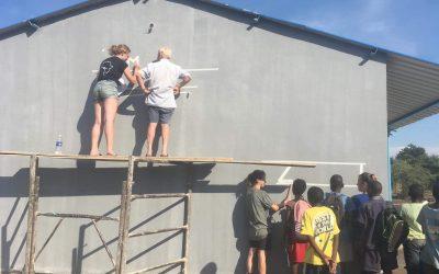 Work begins on new mural at Linda Community School