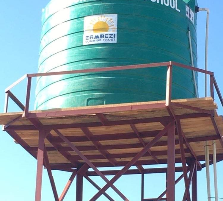 Water tower completed, and connected, at Linda Community School.