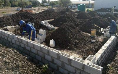 Block work on pad begins at Linda Community School.