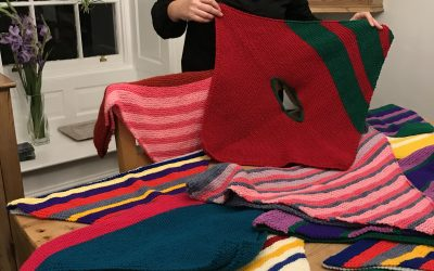 Donation of hand made ponchos.