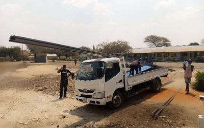 Roof for new classrooms arrives at Linda Community School.