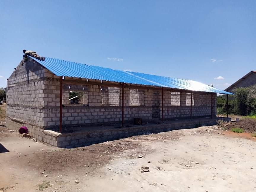 Roof completed on new classroom block.