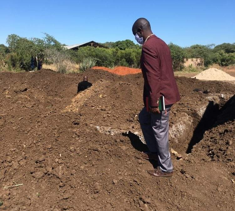 Foundation trenches dug at new classroom block.