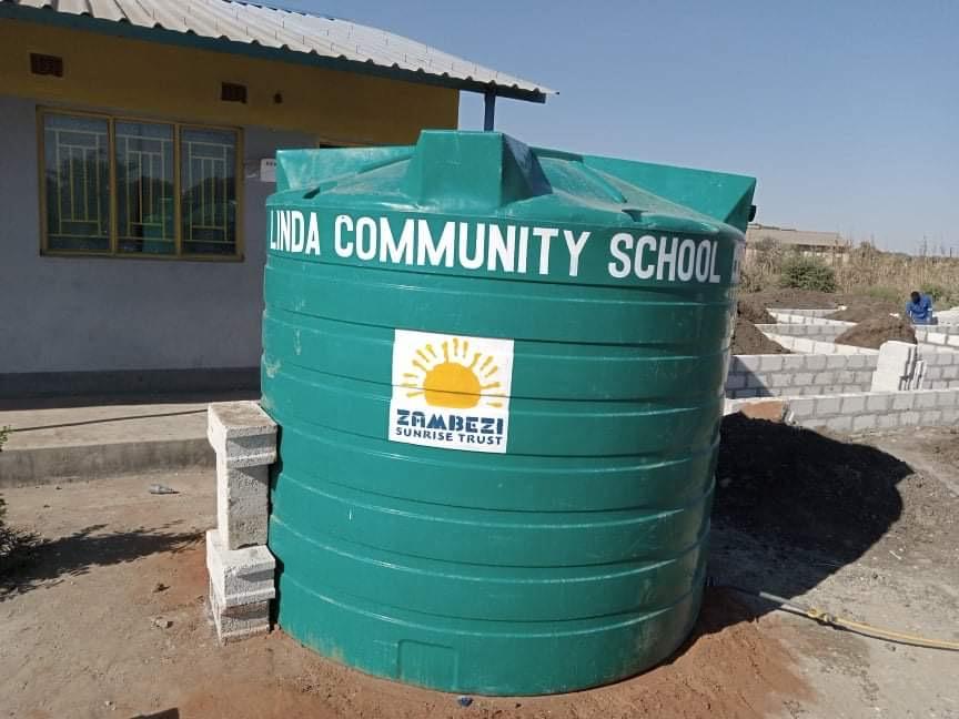 Water tank painted at Linda Community School